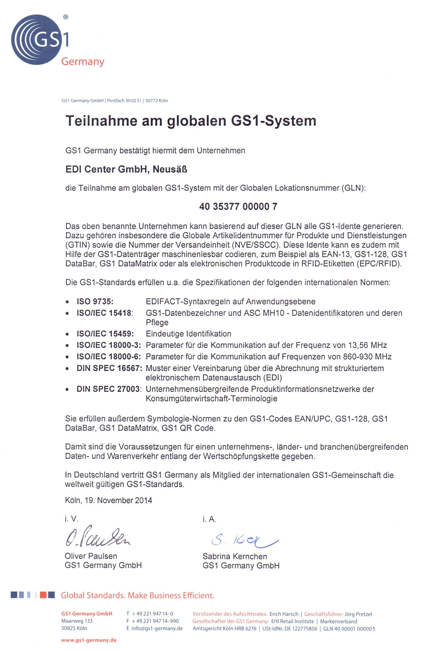 GS1-Zertifikat deutsch