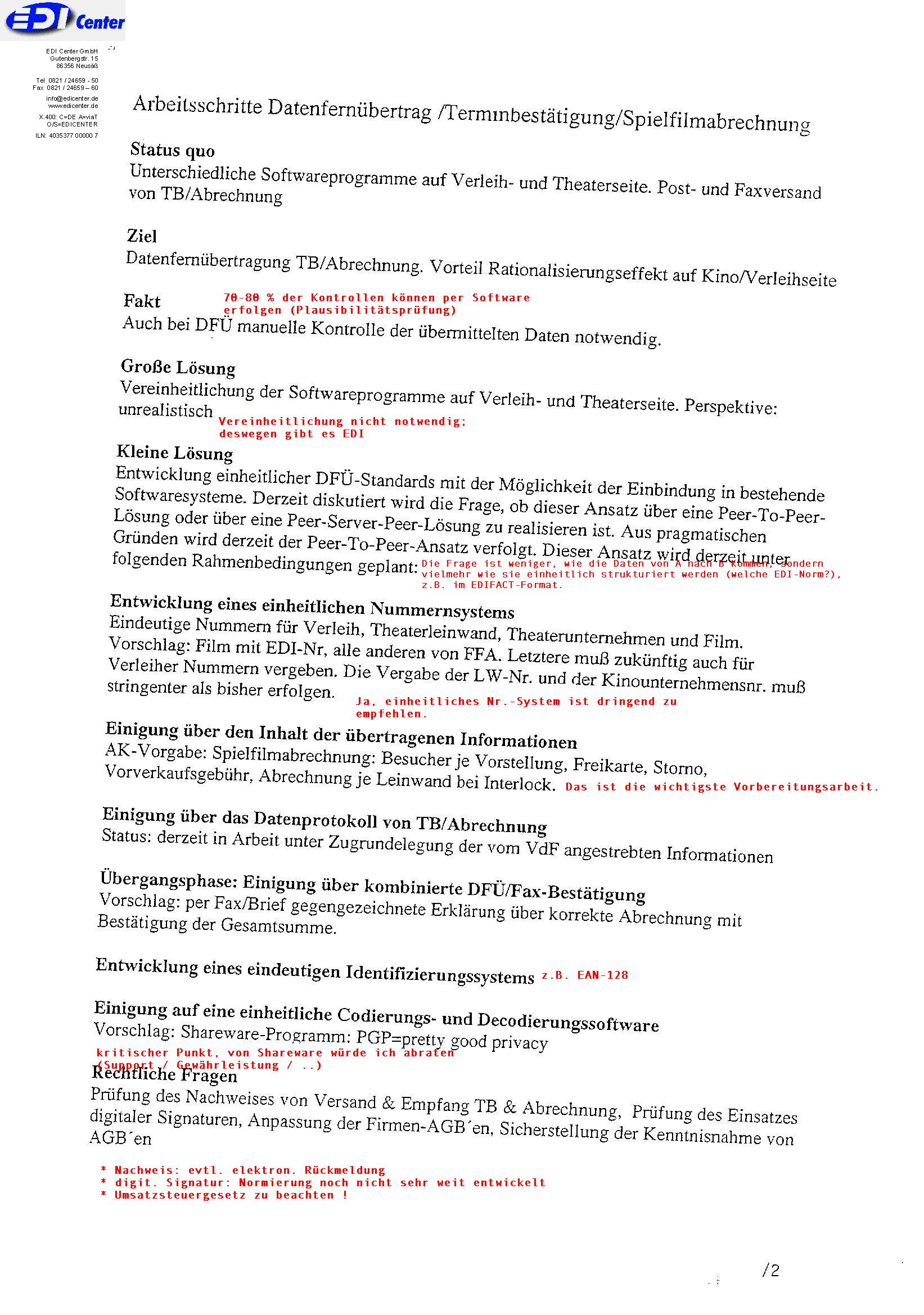 EDI-Planung ca. 1998