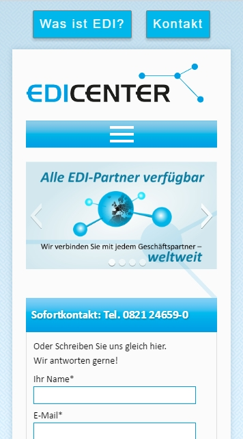 Screenshot der mobilen Homepage