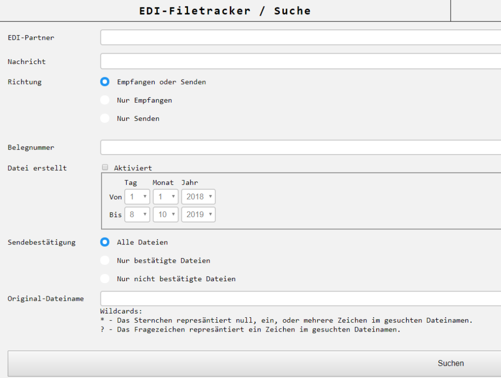 Suchfunktion im EDI-Filetracker vom EDICENTER